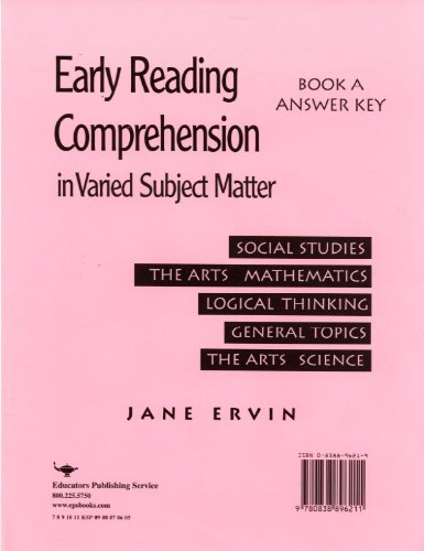 Early Reading Comprehension Book A; Answer Key