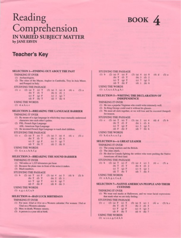 Reading Comprehension Book 4; Teacher's Key