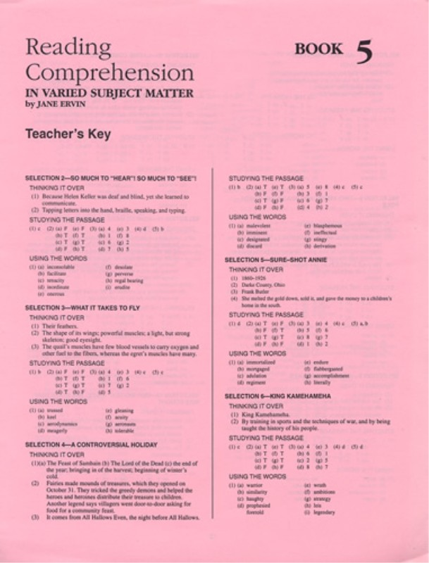 Reading Comprehension Book 5; Teacher's Key